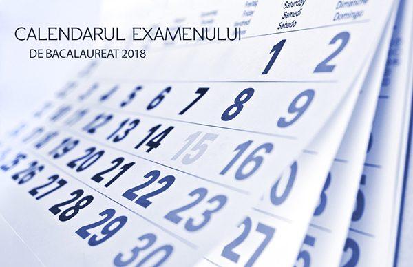 Calendar Bacalaureat 2018